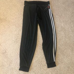 Gray joggers with double white stripe down side